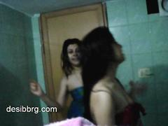 Indian one hot hostel girls regard highly dancing relative to shower acquiring stained