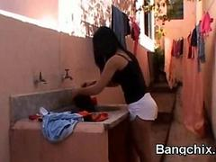 Latina Unreserved Sucking Together with Irritant Fucked